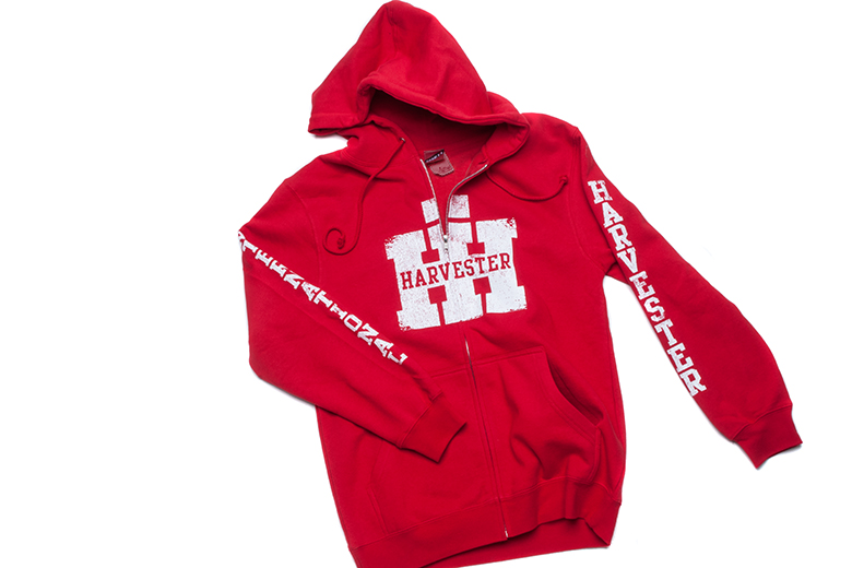 IH Hoodie - Red Zip Up, Printed Sleeves