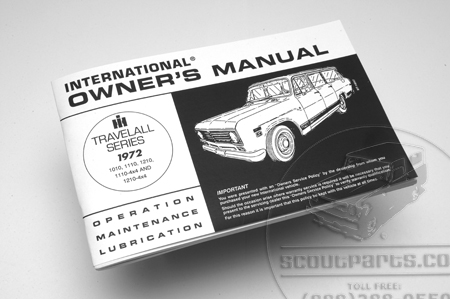 Travelall operators manual for 1972 (1010-1210)