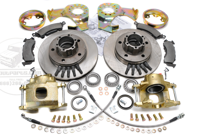 Disc Brake Conversion Kit - Front 4x4 1/2 Ton 4x4 Pickup Trucks And Travelalls With Long Axle Shaft Hubs.