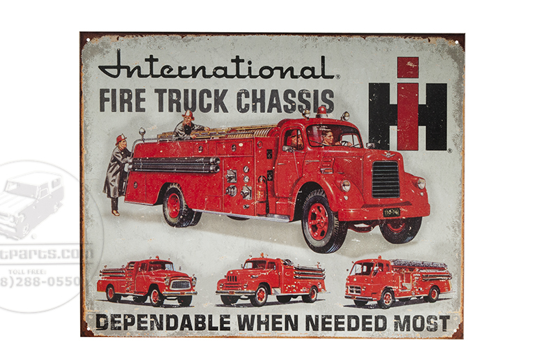 Metal Sign - Fire Truck International Chassis