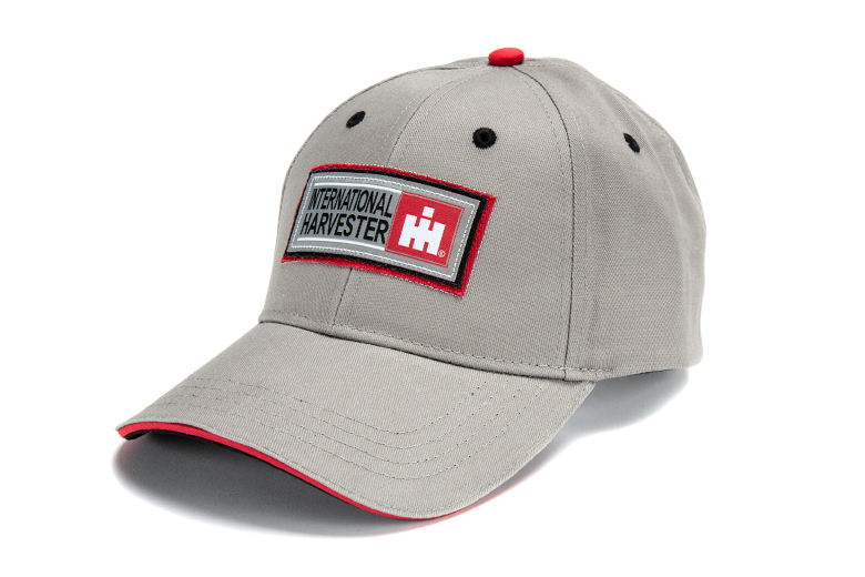 IH Brushed Grey, Red Twill Patch Cap, Hat