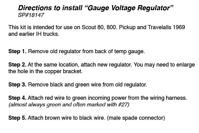 Voltage Regulator kit for 69 - 75 Gauges. Easy to install - NO soldering (Current Limiter)